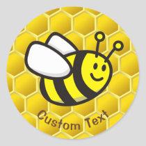 Honeybee Cartoon Classic Round Sticker