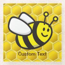 Honeybee Cartoon Glass Coaster