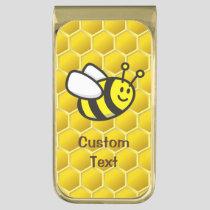Honeybee Cartoon Gold Finish Money Clip
