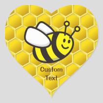 Honeybee Cartoon Heart Sticker