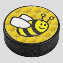 Honeybee Cartoon Hockey Puck