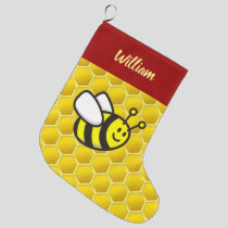 Honeybee Cartoon Large Christmas Stocking