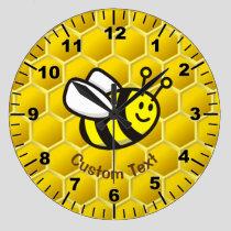 Honeybee cartoon large clock