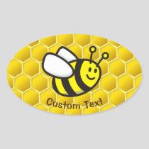 Honeybee Cartoon Oval Sticker