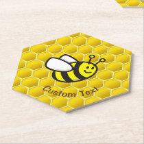 Honeybee Cartoon Paper Coaster