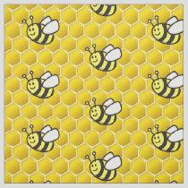 Honeybee Cartoon Pattern Fabric
