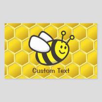 Honeybee Cartoon Rectangular Sticker