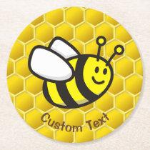 Honeybee Cartoon Round Paper Coaster