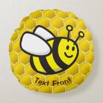Honeybee Cartoon Round Pillow
