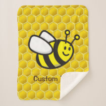 Honeybee Cartoon Sherpa Blanket