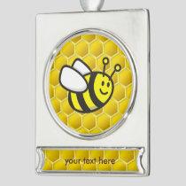 Honeybee Cartoon Silver Plated Banner Ornament