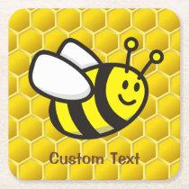 Honeybee Cartoon Square Paper Coaster