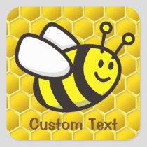 Honeybee Cartoon Square Sticker