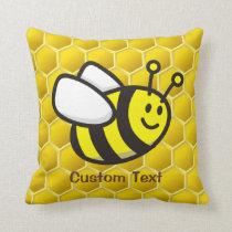 Honeybee cartoon throw pillow