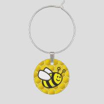 Honeybee Cartoon Wine Charm