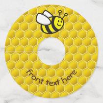 Honeybee Cartoon Wine Glass Tag