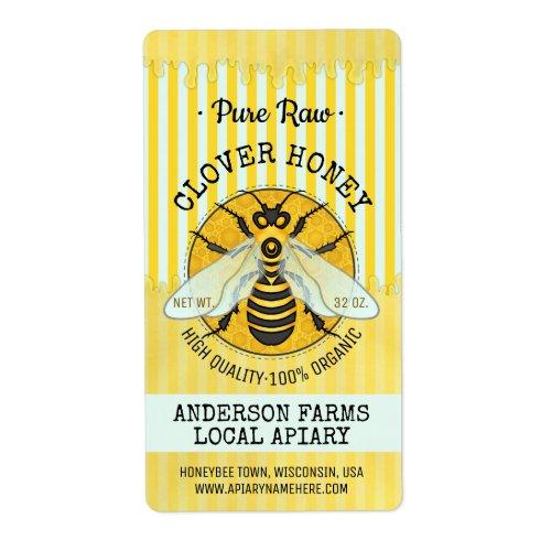Honeybee Honey Jar Apiary Bee Labels | Striped