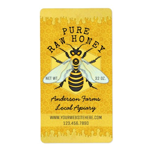 Honeybee Honey Jar Apiary Labels | Honeycomb Bee