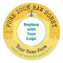 Honeybee Honey Jar Apiary Logo   Honeycomb Bee Classic Round Sticker