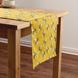 Honeybee Honeycomb Bee Beehive Pattern Party Short Table Runner