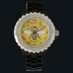 """Honeybee Honeycomb Bee Pretty Personalized Watch<br><div class=""""desc"""">This sweet honeybee design shows a large bee over a light, bright honeycomb background. The yellow and black bee has gossamer white-blue wings that are spread out like it&#39;s ready to fly. The background is a pretty golden beehive honeycomb pattern. This original, nature - inspired design is perfect for anyone...</div>"""