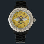 "Honeybee Honeycomb Bee Pretty Personalized Watch<br><div class=""desc"">This sweet honeybee design shows a large bee over a light, bright honeycomb background. The yellow and black bee has gossamer white-blue wings that are spread out like it&#39;s ready to fly. The background is a pretty golden beehive honeycomb pattern. This original, nature - inspired design is perfect for anyone...</div>"