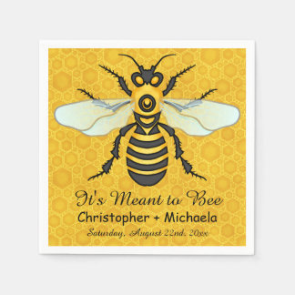 Honeybee Honeycomb Bee Wedding Theme Custom Paper Napkin