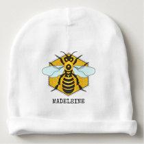 Honeybee Honeycomb Cute Bumblebee Personalized Baby Beanie