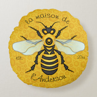 Honeybee Honeycomb Elegant French Bee Family Name Round Pillow