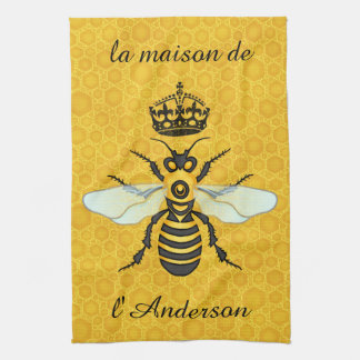Honeybee Honeycomb French Bee Elegant Custom Name Kitchen Towel