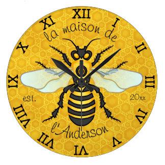Honeybee Honeycomb French Bee Family Name Elegant Large Clock