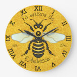 Honeybee Honeycomb French Bee Family Name Elegant Wallclock