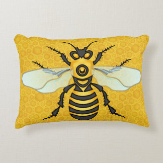 Honeybee Honeycomb Large Bee Apiary Hive Accent Pillow