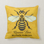 Honeybee Honeycomb Large Bee Apiary Throw Pillow