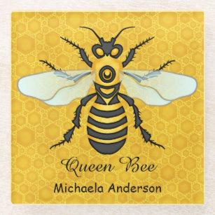 Honeybee Honeycomb Queen Bee Personalized Glass Coaster