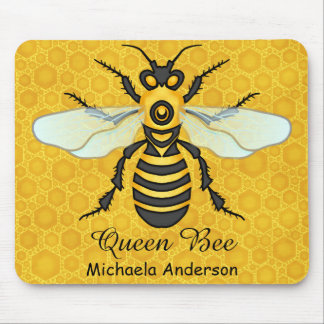 Honeybee Honeycomb Queen Bee Personalized Name Mouse Pad