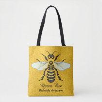 Honeybee Honeycomb Queen Bee Pretty   Add Name Tote Bag