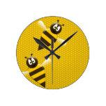 Honeybee in Honeycomb Wall Clocks