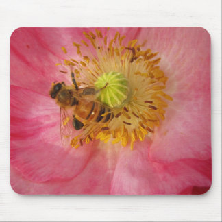 Honeybee in the Poppy Mouse Pad
