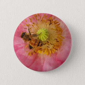 Honeybee in the Poppy Pinback Button