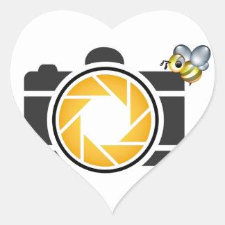 Honeybee on a Digital camera Heart Sticker