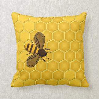 Honeybee on a Honeycomb Accent Pillow