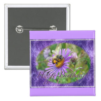 Honeybee on Asters Birthday Coordinating Items 2 Inch Square Button