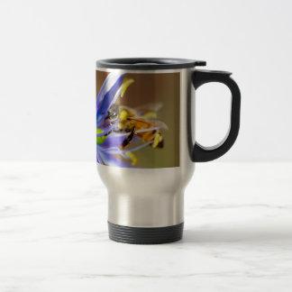 Honeybee on Blue Flower 15 Oz Stainless Steel Travel Mug