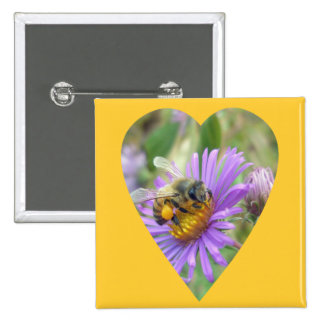 Honeybee on Fall Asters Heart 2 Inch Square Button