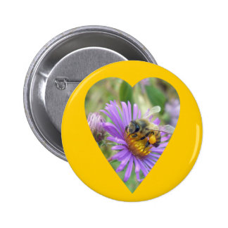 Honeybee on Fall Asters Heart Pinback Button