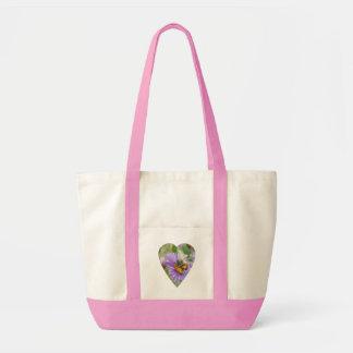 Honeybee on Fall Asters Heart Tote Bag
