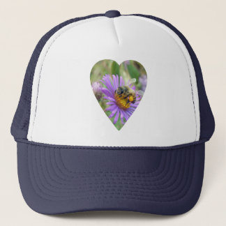 Honeybee on Fall Asters Heart Trucker Hat