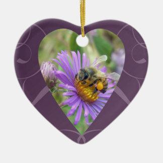 Honeybee on Fall Asters Valentine Heart Ceramic Ornament