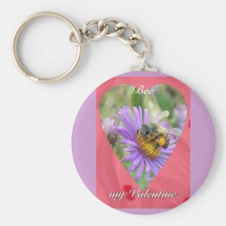 Honeybee on Fall Asters Valentine Keychain